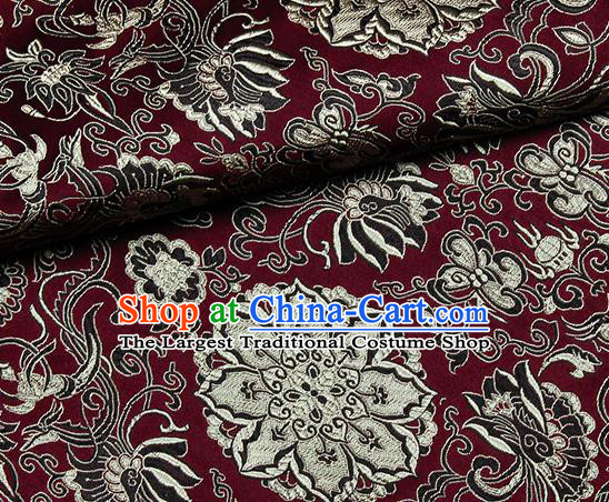 Chinese Classical Rosette Pattern Design Wine Red Satin Fabric Brocade Asian Traditional Drapery Silk Material
