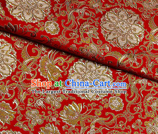 Chinese Classical Rosette Pattern Design Satin Fabric Red Brocade Asian Traditional Drapery Silk Material