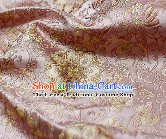Chinese Classical Rosette Pattern Design Pink Satin Fabric Brocade Asian Traditional Drapery Silk Material