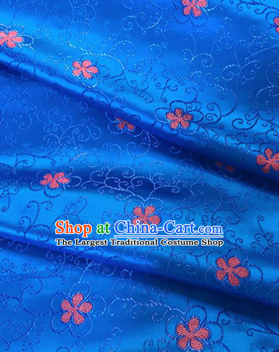 Chinese Classical Pattern Design Royalblue Satin Fabric Brocade Asian Traditional Drapery Silk Material