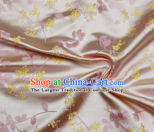 Chinese Classical Floral Pattern Design Pink Satin Fabric Brocade Asian Traditional Drapery Silk Material