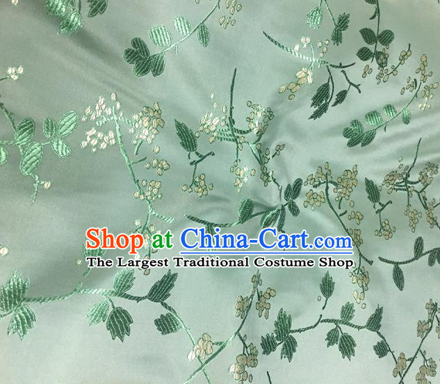 Chinese Classical Floral Pattern Design Green Satin Fabric Brocade Asian Traditional Drapery Silk Material
