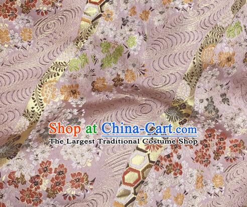 Asian Japanese Classical Sakura Pattern Design Pink Brocade Kimono Satin Fabric Damask Traditional Drapery Silk Material