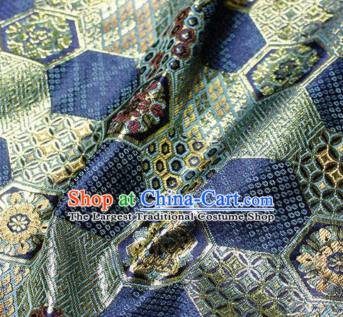 Asian Japanese Classical Tortoise Shell Pattern Design Navy Brocade Kimono Satin Fabric Damask Traditional Drapery Silk Material