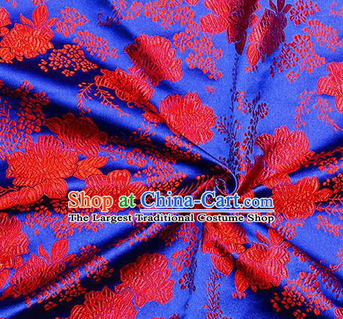 Chinese Classical Peony Pattern Design Royalblue Satin Fabric Brocade Asian Traditional Drapery Silk Material