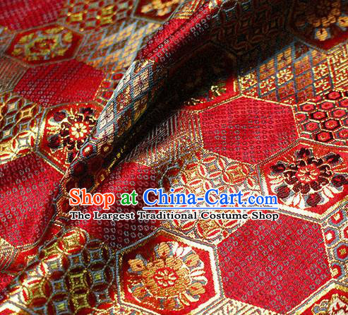 Asian Japanese Classical Tortoise Shell Pattern Design Red Brocade Kimono Satin Fabric Damask Traditional Drapery Silk Material