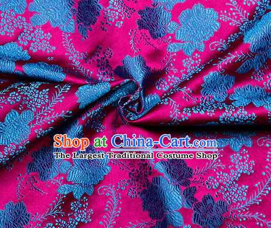 Chinese Classical Peony Pattern Design Rosy Satin Fabric Brocade Asian Traditional Drapery Silk Material