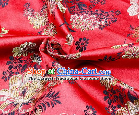 Chinese Classical Peony Pattern Design Red Satin Fabric Brocade Asian Traditional Drapery Silk Material