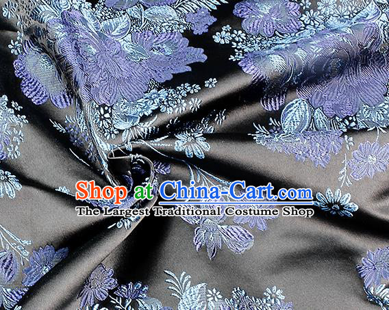 Chinese Classical Peony Pattern Design Black Satin Fabric Brocade Asian Traditional Drapery Silk Material