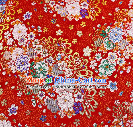 Chinese Classical Royal Pattern Design Red Satin Fabric Brocade Asian Traditional Drapery Silk Material
