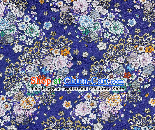 Chinese Classical Royal Pattern Design Royalblue Satin Fabric Brocade Asian Traditional Drapery Silk Material