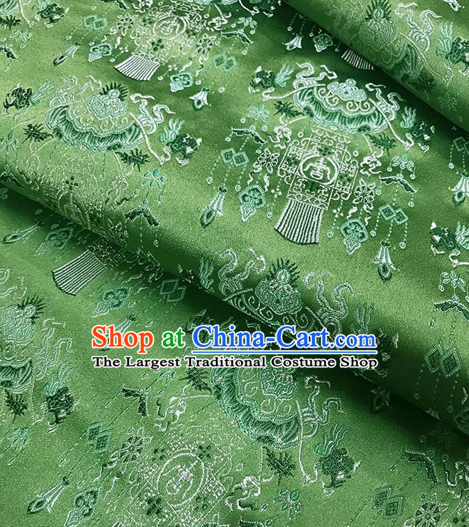 Chinese Classical Palace Lantern Pattern Design Green Satin Fabric Brocade Asian Traditional Drapery Silk Material