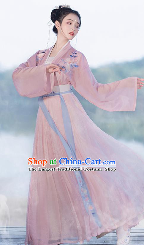 Asian Chinese Ancient Princess Embroidered Hanfu Dress Traditional Song Dynasty Court Historical Costume for Women