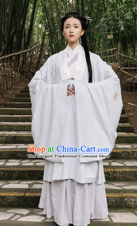 Asian Chinese Ancient Imperial Consort Embroidered Hanfu Dress Traditional Song Dynasty Nobility Dowager Historical Costume for Women