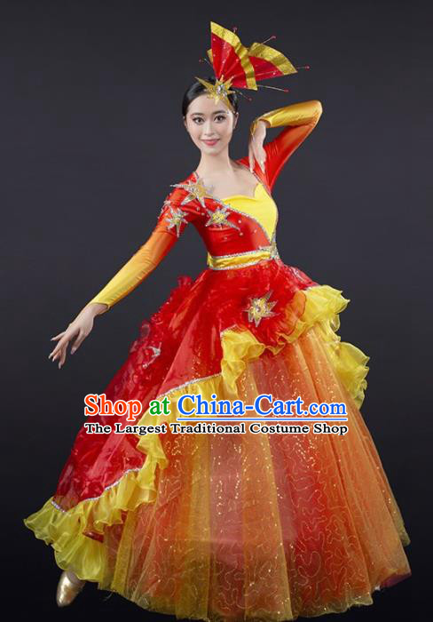 Chinese Spring Festival Gala Modern Dance Red Veil Dress Opening Dance Stage Performance Costume for Women