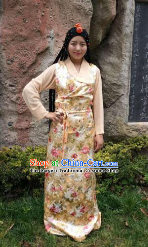 Chinese Traditional Zang Nationality Female Dress Tibetan Dance Ethnic Costume for Women