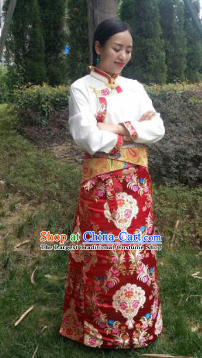 Chinese Traditional Zang Nationality Female Dress Ethnic Dance Costume Red Tibetan Robe for Women