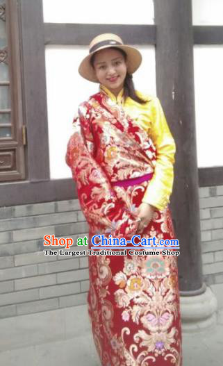Chinese Traditional Zang Nationality Female Dress Red Tibetan Robe Ethnic Dance Costume for Women