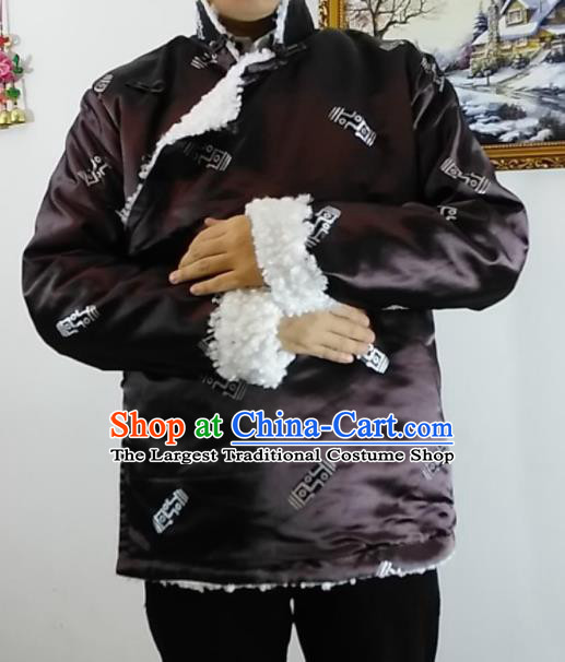 Chinese Traditional Zang Nationality Brown Cotton Padded Jacket Tibetan Ethnic Dance Costume for Men