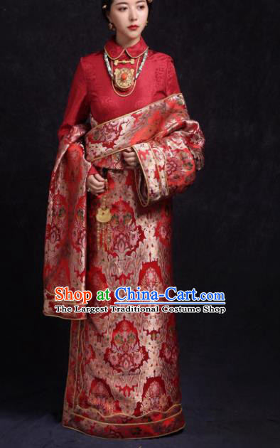 Chinese Traditional Ethnic Bride Red Tibetan Robe Zang Nationality Female Dress Costume for Women
