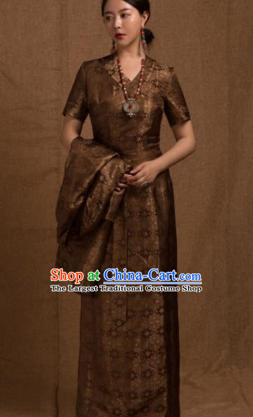 Chinese Traditional Ethnic Bride Tibetan Robe Zang Nationality Female Bronze Dress Costume for Women