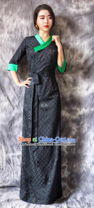 Chinese Traditional Ethnic Bride Tibetan Robe Zang Nationality Female Navy Dress Costume for Women