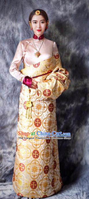 Chinese Traditional Ethnic Bride Golden Tibetan Robe Zang Nationality Female Dress Costume for Women