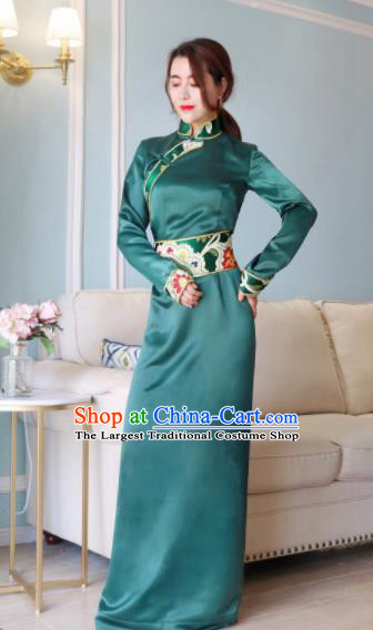 Chinese Traditional Ethnic Bride Tibetan Robe Zang Nationality Female Green Silk Dress Costume for Women