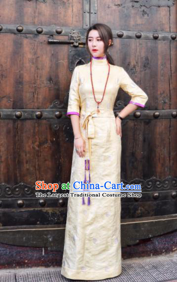 Chinese Traditional Ethnic Bride Tibetan Robe Zang Nationality Female Yellow Silk Dress Costume for Women