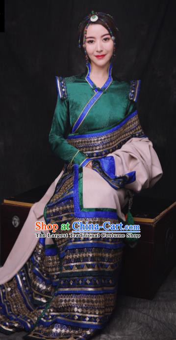 Chinese Traditional Ethnic Bride Royalblue Tibetan Robe Zang Nationality Female Dress Costume for Women
