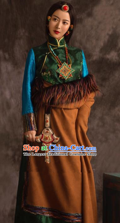 Chinese Traditional Ethnic Bride Brown Tibetan Robe Zang Nationality Female Dress Wedding Costume for Women