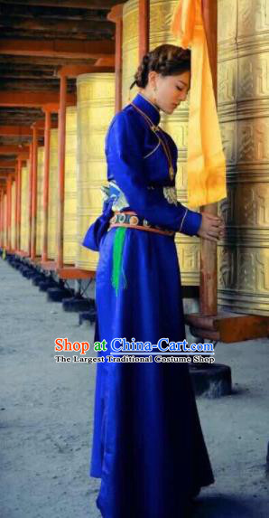 Chinese Traditional Ethnic Bride Royalblue Tibetan Robe Zang Nationality Female Dress Wedding Costume for Women