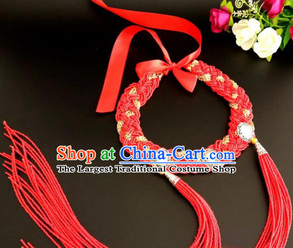 Chinese Traditional Mongol Nationality Weave Red Tassel Hair Clasp Mongolian Ethnic Dance Headband Accessories for Women