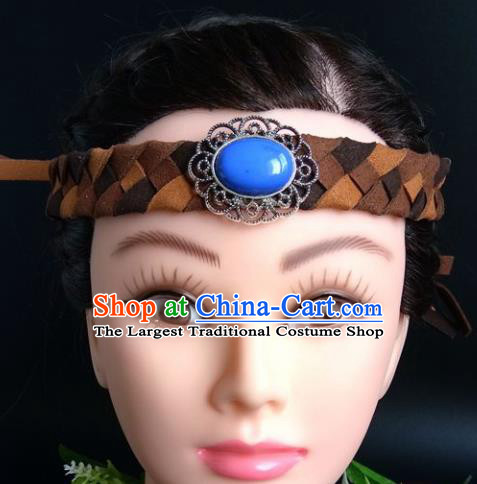 Chinese Traditional Mongol Nationality Handmade Weave Hair Clasp Mongolian Ethnic Dance Headband Accessories for Women