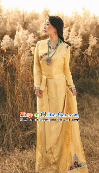 Chinese Traditional Zang Nationality Female Yellow Silk Dress Tibetan Robe Ethnic Dance Costume for Women