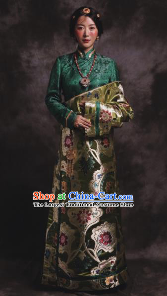Chinese Traditional Zang Nationality Female Dress Green Tibetan Robe Ethnic Dance Costume for Women