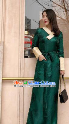 Chinese Traditional Zang Nationality Deep Green Dress Tibetan Ethnic Costume for Women