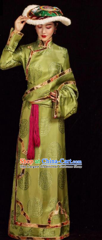 Chinese Traditional Green Tibetan Robe Zang Nationality Female Dress Ethnic Costume for Women
