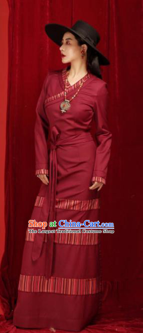 Chinese Traditional Tibetan Robe Zang Nationality Female Wine Red Dress Ethnic Costume for Women