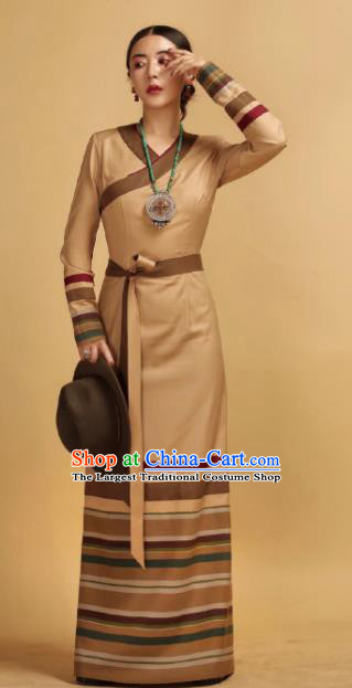 Chinese Traditional Ethnic Khaki Tibetan Robe Zang Nationality Female Dress Costume for Women