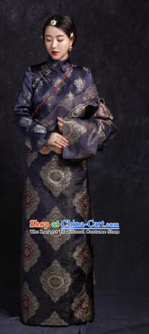 Chinese Traditional Ethnic Navy Tibetan Robe Zang Nationality Female Dress Costume for Women