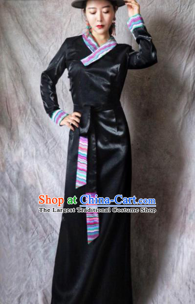 Chinese Traditional Ethnic Tibetan Robe Zang Nationality Female Black Silk Dress Costume for Women