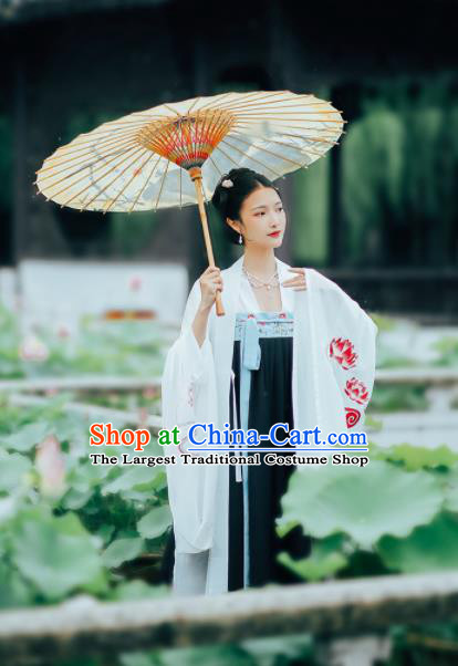 Asian Chinese Ancient Court Peri Embroidered Hanfu Dress Traditional Tang Dynasty Imperial Consort Historical Costume for Women