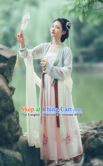 Asian Chinese Ancient Maiden Embroidered Hanfu Dress Traditional Song Dynasty Young Lady Historical Costume for Women