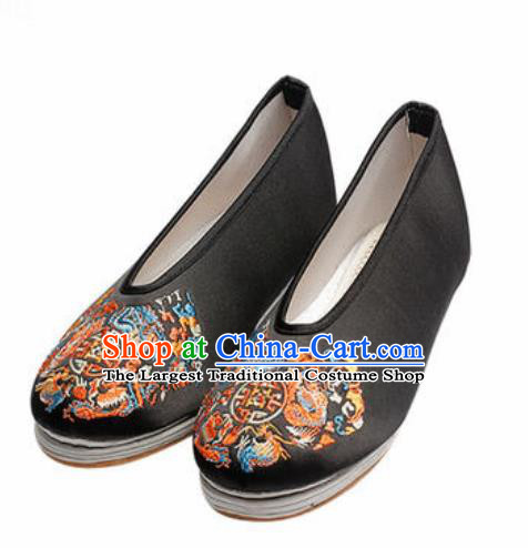 Chinese Embroidered Shoes Traditional Opera Black Satin Shoes Wedding Shoes Hanfu Princess Shoes for Women