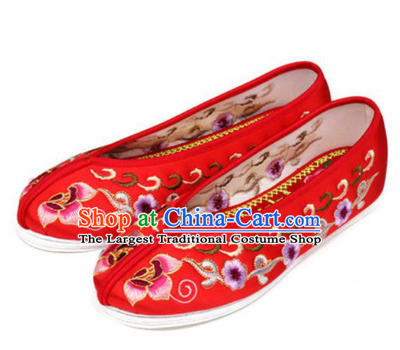 Chinese Embroidered Plum Shoes Traditional Opera Red Satin Shoes Wedding Shoes Hanfu Princess Shoes for Women