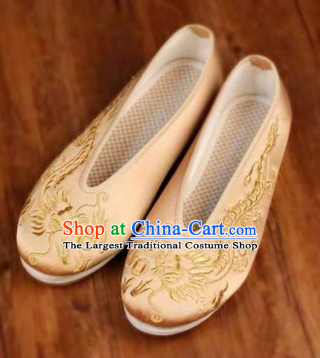 Chinese Embroidered Dragons Shoes Traditional Opera Golden Satin Shoes Wedding Shoes Hanfu Princess Shoes for Women