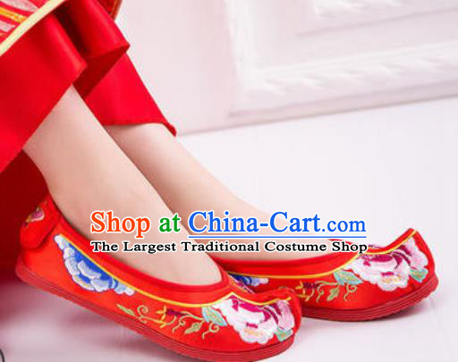 Chinese Embroidered Peony Shoes Traditional Opera Red Satin Shoes Wedding Shoes Hanfu Princess Shoes for Women