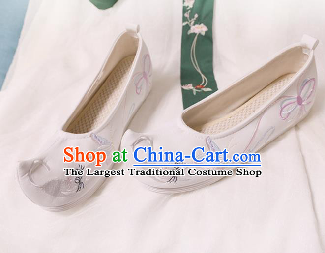 Chinese Traditional Wedding Shoes Opera Shoes Hanfu Princess Shoes Embroidered Butterfly White Shoes for Women