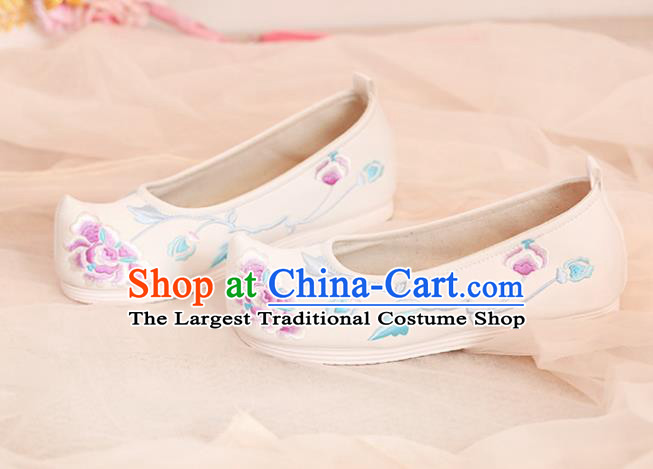 Chinese Traditional Shoes Opera Shoes Hanfu Princess Shoes Embroidered Peony White Shoes for Women